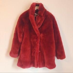 🆕 H&M Red Faux Fur Coat